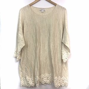 COLDWATER CREEK Tan Beige Floral Lace 3/4 Sleeve